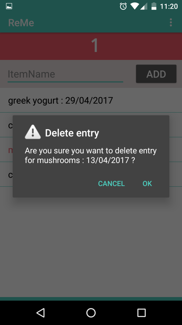 Delete the consumed food item